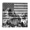 <strong>iCanvasArt</strong> Mount Rushmore, US Flag Graphic Art on Canvas in Black / White
