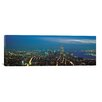 iCanvasArt Panoramic New York Skyline Cityscape Photographic Print on Canvas in Night