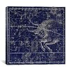 iCanvas Celestial Atlas - Plate 14 (Taurus) by Alexander Jamieson Graphic Art on Canvas in Blue