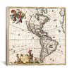 iCanvas 'Antique Maps North America and South America (1658)' by Visscher Gaphic Art on Canvas