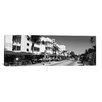 iCanvasArt Panoramic Miami Skyline Cityscape (South Beach) Photographic Print on Canvas in Black/White