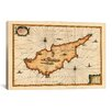 iCanvas Antique Map of Cyprus (1653) by Joan Janssonius Graphic Art on Canvas in Beige