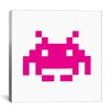 iCanvas Space Invaders Graphic Art on Canvas in Pink