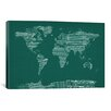 iCanvasArt World Map Sheet Music  by Michael Tompsett Textual Art on Canvas in Green