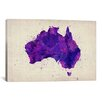 <strong>iCanvasArt</strong> Map of Australia Paint Splashes by Michael Tompsett Graphic Art on Canvas in Purple