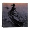 iCanvas Flags Vintage WW2 U.S. Battleships at Sea Photographic Print on Canvas in Grey