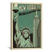 iCanvasArt 'The Empire City - New York City' by Anderson Design Group Vintage Advertisement on Canvas