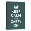 <strong>iCanvasArt</strong> Vintage Posters Keep Calm and Carry on Graphic Art on Canvas in Green