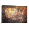 iCanvas 'U.S.A. Map' by Michael Tompsett Graphic Art on Canvas