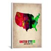 iCanvasArt Naxart U.S.A. Watercolor Map II Graphic Art on Canvas