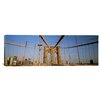 <strong>iCanvasArt</strong> Panoramic New York State, New York City, Brooklyn Bridge at Dawn Photographic Print on Canvas
