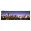 iCanvas Panoramic Skyscrapers Lit up at Night at the Waterfront, Lake Michigan, Chicago, Illinois Photographic Print on Canvas