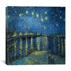 "iCanvasArt ""Starry Night over the Rhone"" Canvas Wall Art by Vincent Van Gogh"