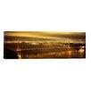 iCanvas Panoramic Suspension Bridge Lit up at Dusk, Golden Gate Bridge, San Francisco, California Photographic Print on Canvas