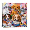 """iCanvas """"Sweet Ones (Puppies and Kittens)"""" Canvas Wall Art by Jenny Newland"""