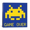 iCanvas Space Invader - Game Over (Blue and Yellow) Canvas Wall Art