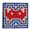 iCanvas Space Invader - Patriotic Invader Tile Art (Red, White, and Blue) Canvas Wall Art