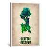 "iCanvas ""Seattle Watercolor Map"" Canvas Wall Art by Naxart"