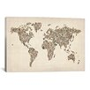 iCanvasArt 'Women's Shoes (Boots) World Map' by Michael Thompsett Graphic Art on Canvas