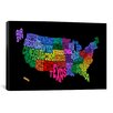 """iCanvas """"(States) Typographic Map III"""" by Michael Thompsett Textual Art on Canvas"""