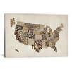 "iCanvasArt ""(States) Typographic Map V"" by Michael Thompsett Textual Art on Canvas"