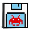 iCanvas Space Invader - Floppy Invader Pixel Art (Red and White) Canvas Wall Art