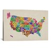 "iCanvas ""(States) Typographic Map VI"" by Michael Thompsett Textual Art on Canvas"