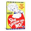 <strong>iCanvasArt</strong> She Shoulda Said No! Vintage Movie Poster Canvas Print Wall Art