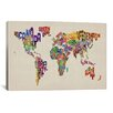 "iCanvasArt ""Typographic Text World Map VIII' by Michael Tompsett Graphic Art on Canvas"