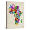 "iCanvas ""Typography Map of Africa II' by Michael Thompsett Graphic Art on Canvas"