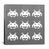 iCanvas Space Invaders - White Invaders (White and Grey) Canvas Wall Art