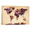 "iCanvas ""Urban Watercolor World Map VI"" by Michael Thompsett Painting Print on Canvas"