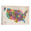 iCanvasArt 'Typographic Text (States) Map' by Michael Thompsett Graphic Art on Canvas
