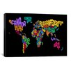 iCanvas 'Typographic Text World Map II (Black)' by Michael Thompsett Graphic Art on Canvas