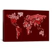 iCanvasArt 'Typographic Text World Map III (Red)' by Michael Thompsett Graphic Art on Canvas