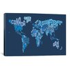 iCanvasArt 'Typographic Text World Map IV (Blue)' by Michael Thompsett Graphic Art on Canvas