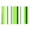 <strong>iCanvasArt</strong> Sour Apple Green Striped Graphic Art on Canvas