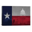 iCanvasArt Texas Flag, Capitol Building with Map Graphic Art on Canvas