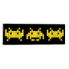 <strong>iCanvasArt</strong> Space Invaders Trio (Black and Yellow) Graphic Art on Canvas