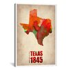 iCanvas Texas Watercolor Map by Naxart Graphic Art on Canvas