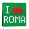 iCanvas Space Invader - I Invade Rome Tile Art Green Canvas Wall Art