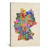 """iCanvas """"Text Map of Germany III"""" by Michael Thompsett Textual Art on Canvas"""