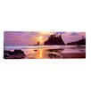 <strong>iCanvasArt</strong> Panoramic Silhouette of Sea Stacks at Sunset, Second Beach, Olympic National Park, Washington State Photographic Print on Canvas