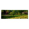 <strong>iCanvasArt</strong> Panoramic Tulip Flowers in a Garden, Sherwood Gardens, Baltimore, Maryland Photographic Print on Canvas