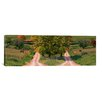 iCanvasArt Panoramic Two Dirt Roads Passing Through Farms in Autumn Photographic Print on Canvas