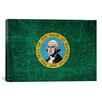 iCanvas Flags Washington Map Graphic Art on Canvas