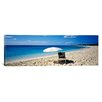 iCanvasArt Panoramic Single Beach Chair and Umbrella on Sand, Saint Martin, French West Indies Photographic Print on Canvas