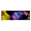 iCanvasArt Panoramic Sunflower and Koi Carp in space Graphic Art on Canvas