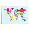 "iCanvasArt ""Tangram Abstract World Map"" by Michael Thompsett Graphic Art on Canvas"