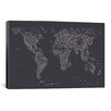 iCanvas Font World Map by Michael Tompsett Graphic Art on Canvas in Dark Gray